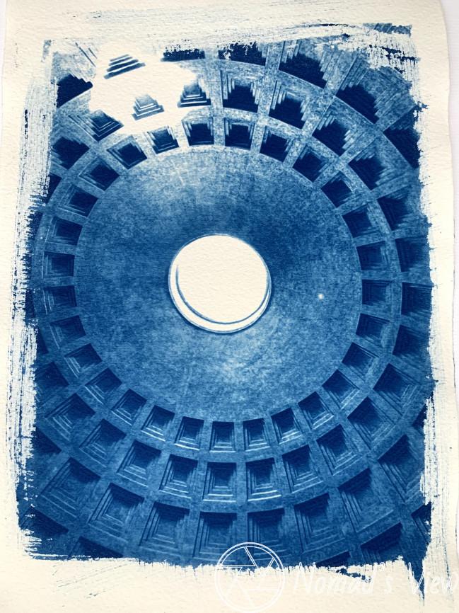 Pantheon ceiling, Rome (Cyano blue print)